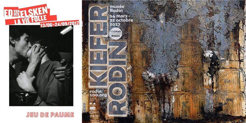 """Affiches des expositions""""Kiefer-Rodin"""" et """"Ed van der Elsken, la vie folle"""""""