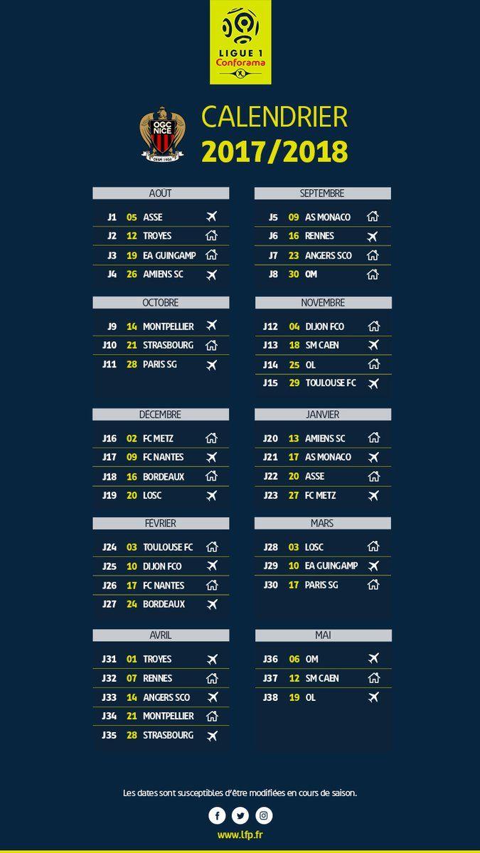 Calendrier Ligue 1 Nice.Ligue 1 Le Calendrier De L Ogc Nice Pour La Saison 2017 2018
