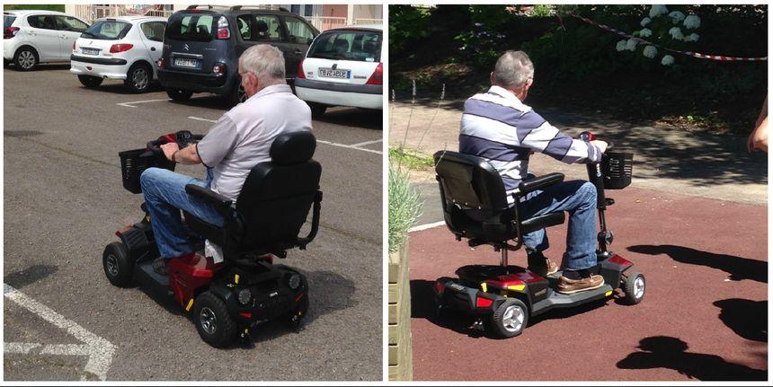 Le plus gros modèle de scooter (à gauche) roule jusqu'à 12 km/h et a une grande autonomie. L'autre ne va que jusqu'à 7 km/h mais est utilisable en intérieur.