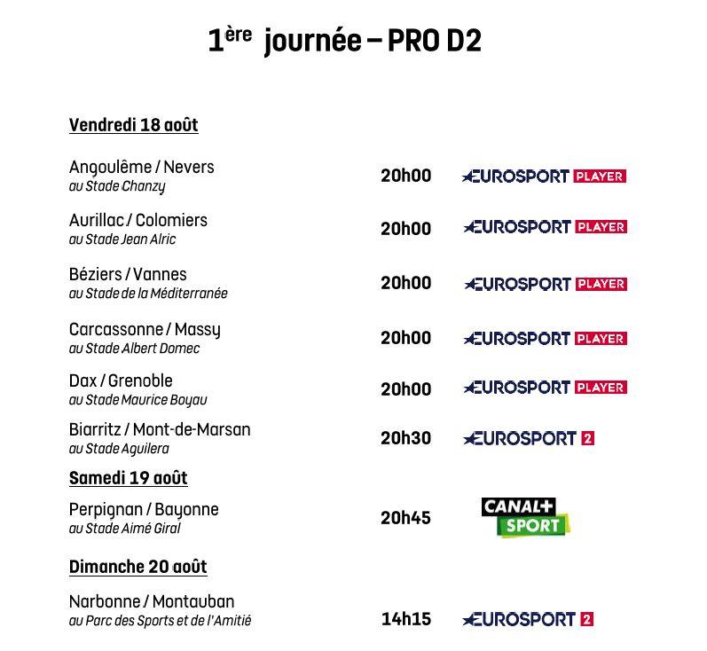 Programmation de la 1re journée de Pro D2 2017-2018