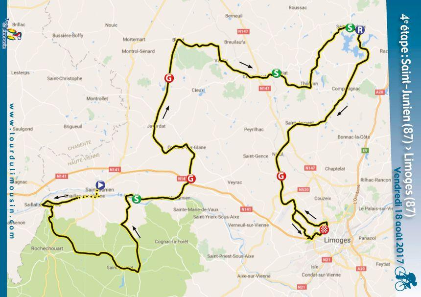 La carte de cette quatrième étape du Tour du Limousin.