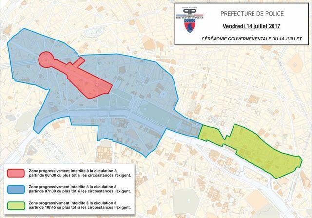 Les restrictions de circulation en raison du défilé militaire à Paris, le 14 juillet 2017.