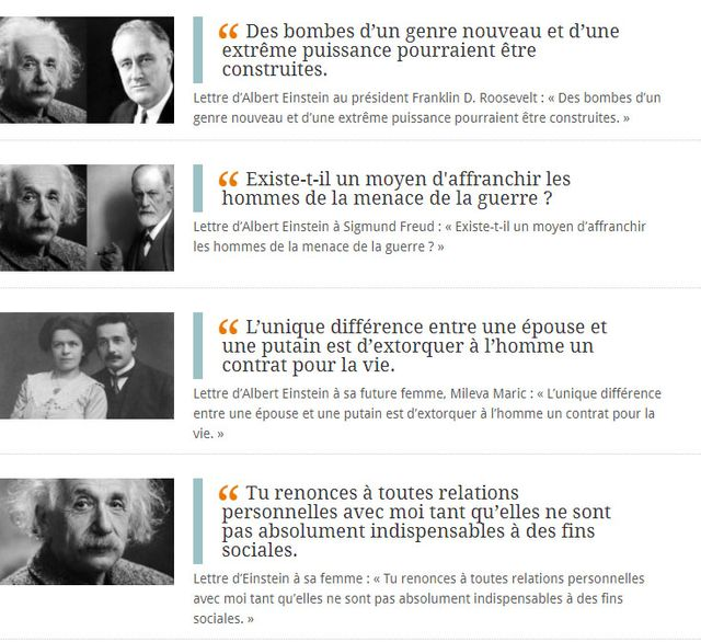 Les lettres d'Einstein sur deslettres.fr