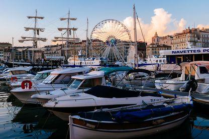 Bateaux sur le port de Marseille,  31 août 2016.