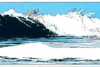 Détail d'une planche d'Olivier Rameau avec Colombe au surf de Dany