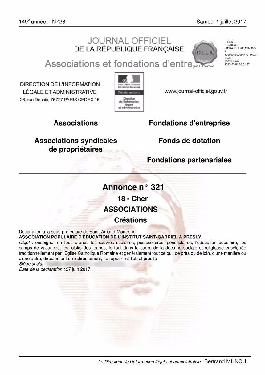Les statuts de la nouvelle association ont été déposés fin juin.