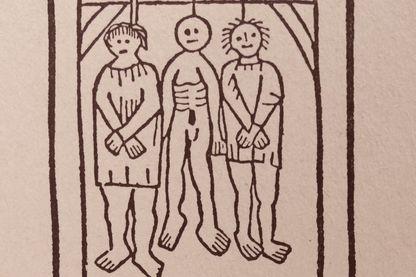 détail d'une gravure du XVe siècle illustrant La Ballade des Pendus de François Villon