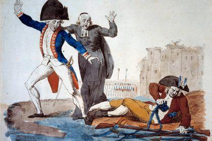Le réveil du Tiers-État, caricature des trois ordres. Le Tiers-État se libère de ses chaînes sous les yeux de la Noblesse et du Tiers-États, au pied de la Bastille - estampe de 1789