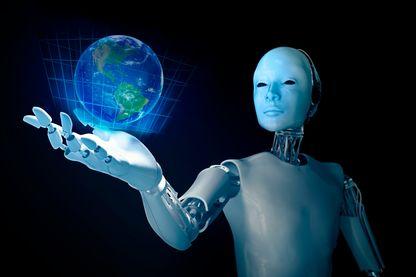 Robot tenant la planète Terre