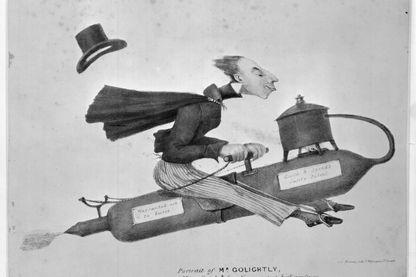 L'homme sur la machine volante, le nouveau brevet de Quick and Speed, haute pression, 1900