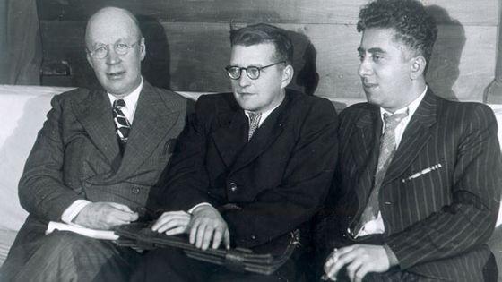 Serge Prokofiev, Dimitri Chostakovitch et Aram Khatchatourian (vers 1945)