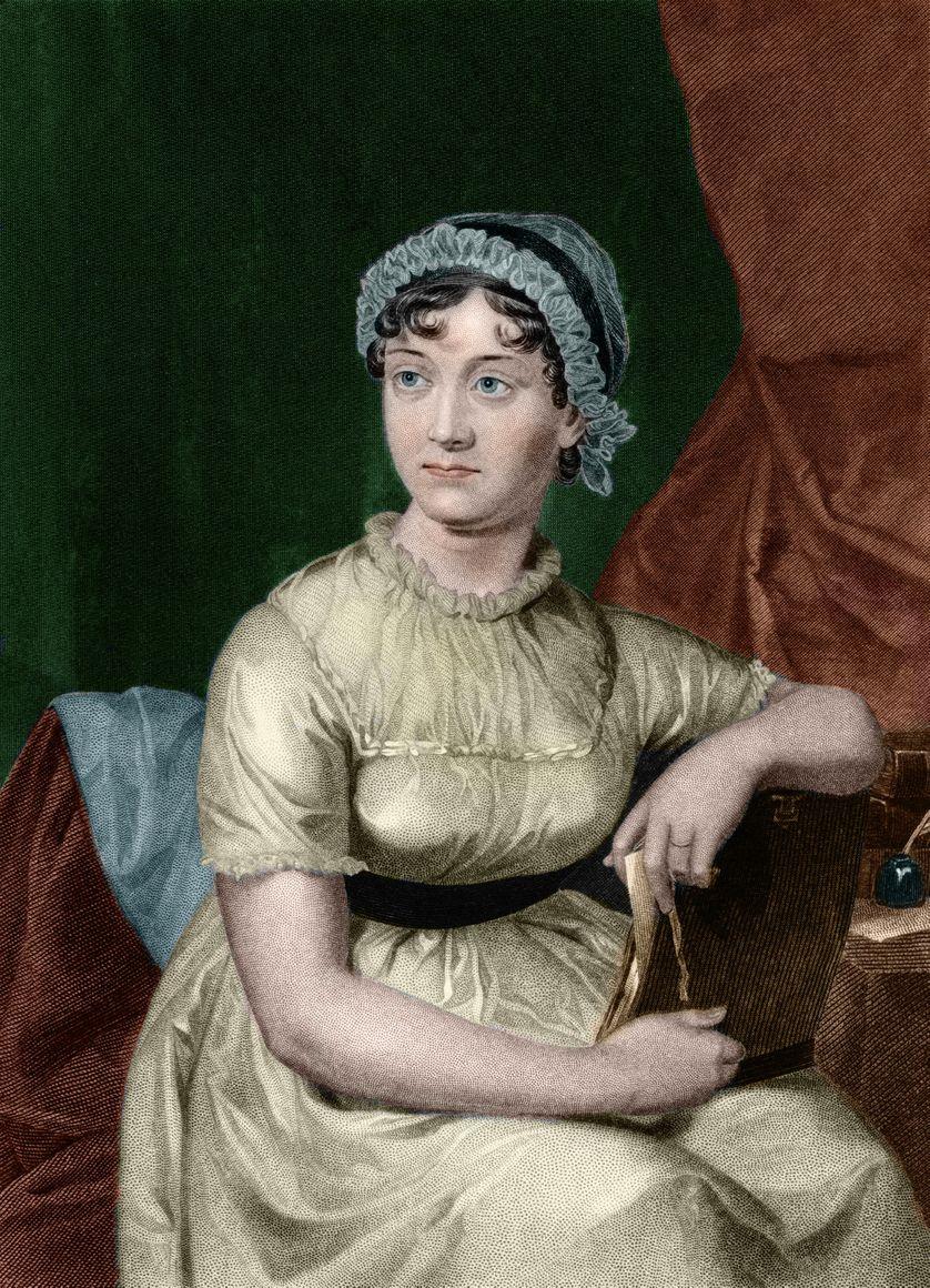 """Portrait de l'ecrivain anglais Jane Austen (1775-1817) Gravure tiree du livre """"Portrait gallery of eminent men and women of Europe and America"""" par le biographe Evert Augustus Duyckinck (1816-1878). 1893"""