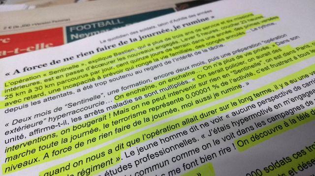 Extrait de l'article du monde sur le blues des militaires français