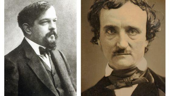 Claude Debussy, par Nadar vers 1908 / Edgar Allan Poe en 1849