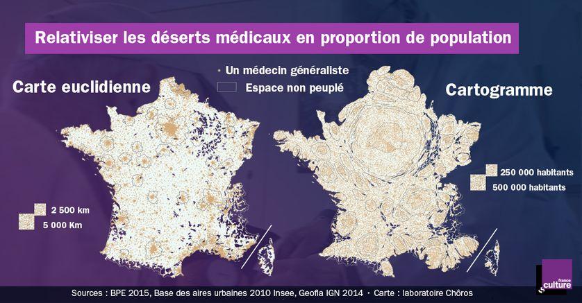 Le nombre de médecins par km et par proportion d'habitants