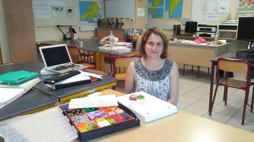 Sandrine Boissel, dans sa classe du collège Munch