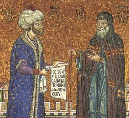 Mehmed II et Gennadios Scholarios (mosaïque moderne)