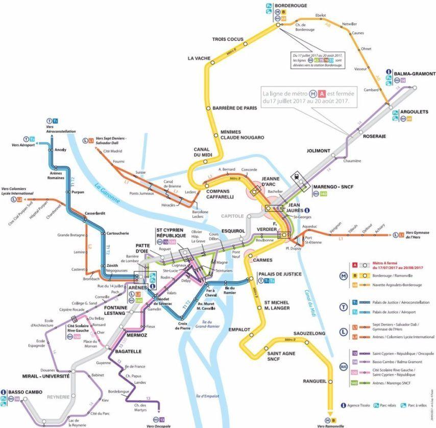 Le réseau de transports toulousains sans la ligne A du métro, à l'été 2017.