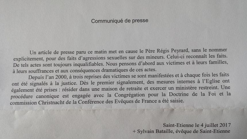Le communiqué publié par le diocèse de Saint-Étienne