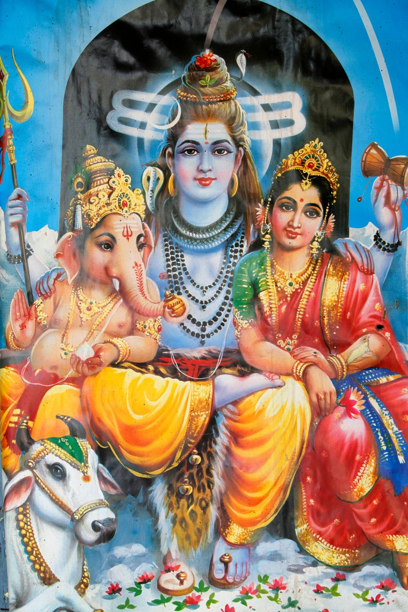 Hindu gods Ganesh and his parents Shiva and Parvati Deoband Inde