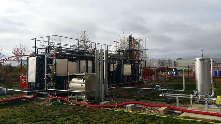 Installation experimentale BioGNVAL de Cryo Pur, branchée sur la station d'épuration de Valenton, dans le Val-de-Marne.
