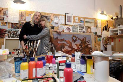 Wolfgang Beltracchi  et sa femme Hélène dans son atelier  à Bergisch-Gladbach