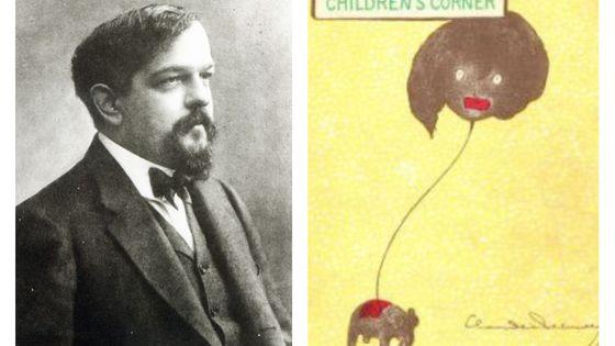 """Claude Debussy, par Nadar vers 1908 / Couverture de """"Children's Corner"""", par Debussy"""