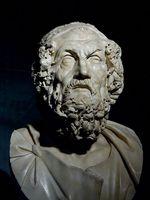 Buste de Homère. Marbre, copie romaine d'un original hellénistique du IIe siècle av. J.-C. (Musées du  Capitole, Rome)