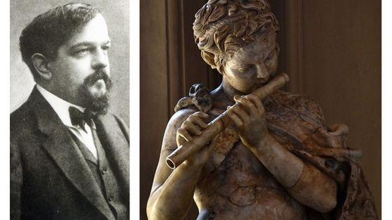 Claude Debussy, par Nadar vers 1908 / Jeune faune jouant de la flute