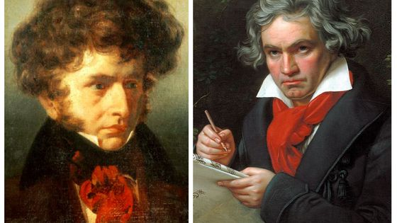Hector Berlioz par Émile Signol (1832) / Beethoven par Joseph Karl Stieler (1820)