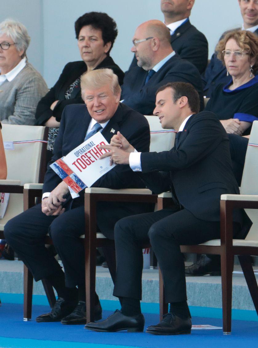 Donald Trump et Emmanuel Macron sur les Champs-Elysées le 14 juillet 2017