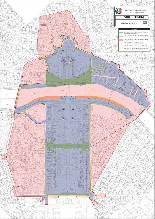 Restrictions de circulations autour du Champ-de-Mars pour la soirée du 14 juillet 2017, Paris.