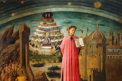 La Divine Comédie par Domenico di Michelino. Fresque de la Basilique de Sainte Marie de la Fleur, Florence en Italie, 15ème siècle.