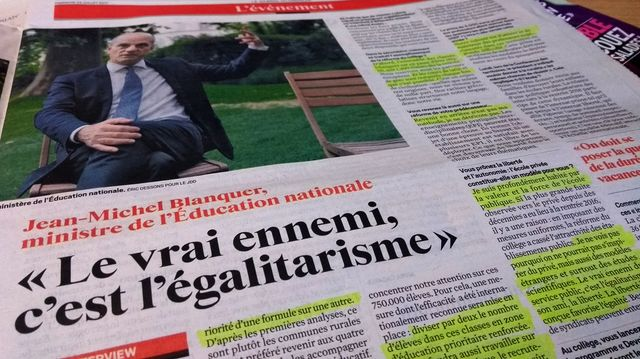 Extrait de l'interview de Jean-Michel Blanquer dans le JDD