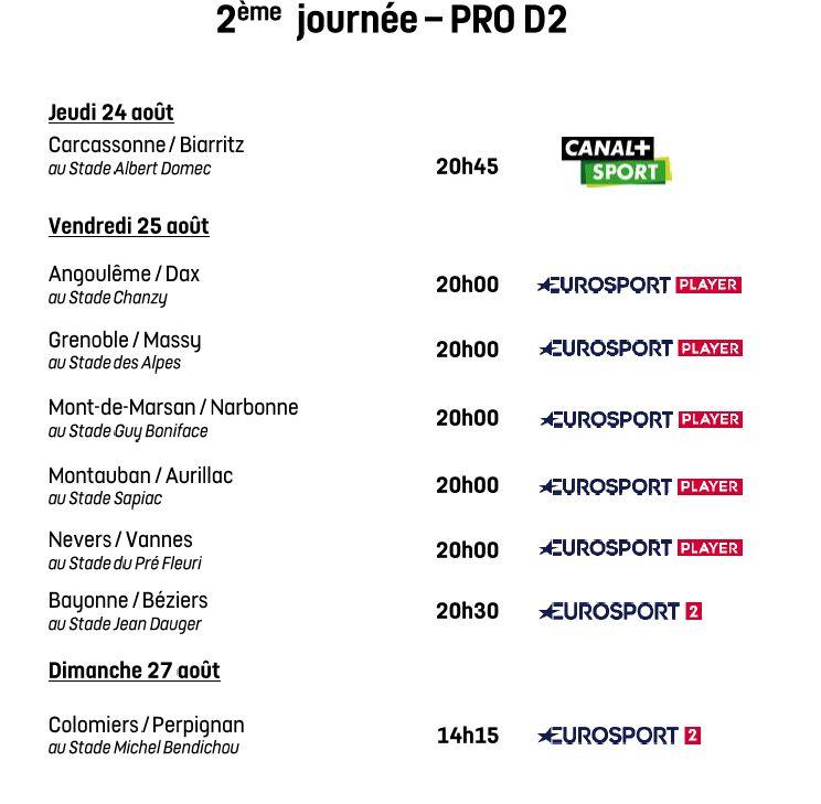 Programmation de la 2e journée de Pro D2 2017-2018