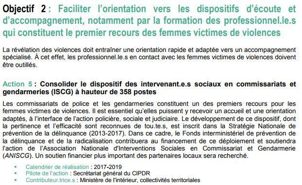 Extrait du plan triennal de lutte contre les violences faites au femme adopté en 2016