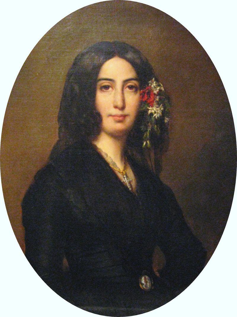 Portrait de George Sand (1804-1876). George Sand est le pseudonyme d'Amantine Aurore Lucile Dupin de Francueil, baronne Dudevant, romancière, auteur dramatique, critique littéraire française et journaliste.