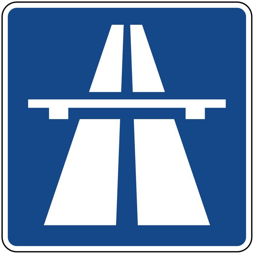 Panneau signalant une autoroute ; en référence à la pochette de l'album de Kraftwerk