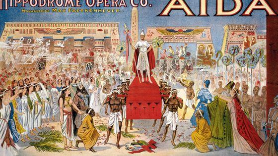 Affiche d'Aïda, représentation donnée à l'Hippodrome Opera Company, Cleveland (Ohio), 1908