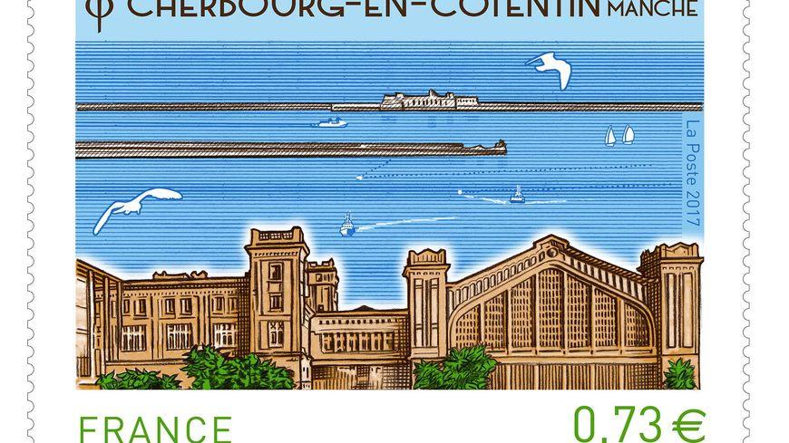 Le timbre représente la Cité de la Mer et la gare transatlantique de Cherbourg