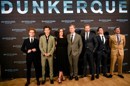 """L'équipe du film """"Dunkerque"""" de Christopher Nolan pour l'avant-première le  Christopher Nolan à Dunkerque."""