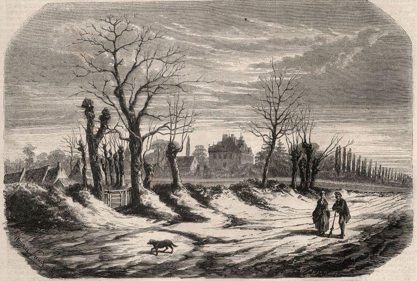 """Maison de George Sand (1804-1876) (Aurore Dupin), Baronne Dudevant a Nohant Vic (Nohant-Vic) dans l'Indre (36). Gravure in """"Le Monde illustre"""" de 1857."""