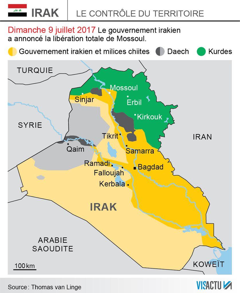 Le contrôle du territoire irakien après l'annonce par le gouvernement, dimanche 9 juillet 2017