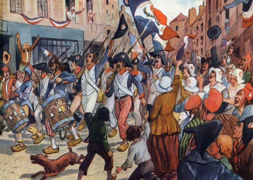 Soldats révolutionnaires chantant la Marseillaise (maintenant l'hymne national français)