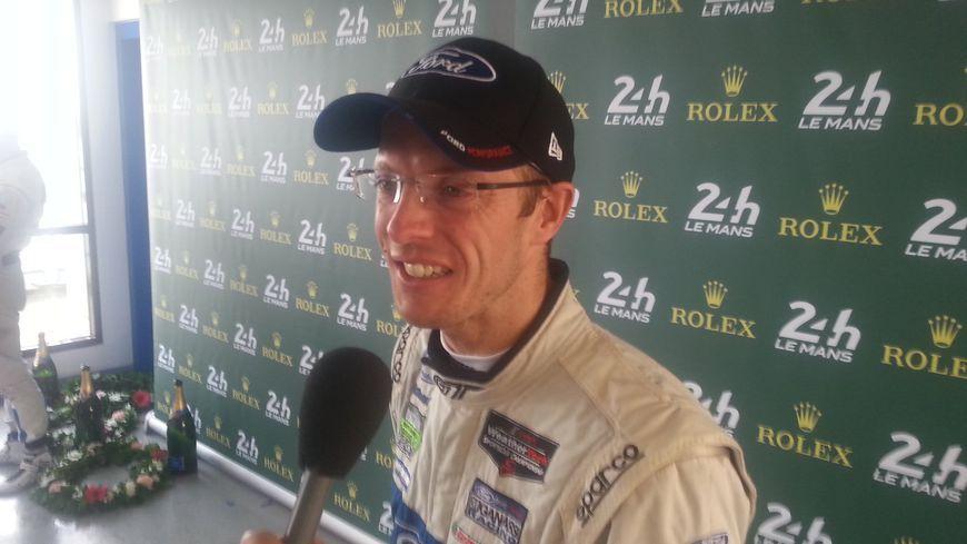 Sébastien Bourdais après sa victoire aux 24 heures du Mans avec Ford, en 2016. A cause de l'accident d'Indianapolis, il n'a pas pu courir au Mans en 2017