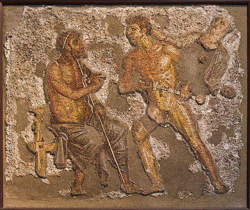 Achilles et Agamemnon, scène de l'Iliade dans des mosaïques romaines.