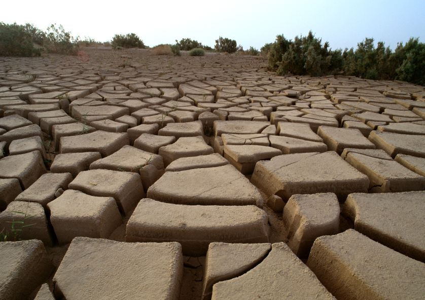 Tunisie, Désert du Sahara, boue craquelée, gros plan