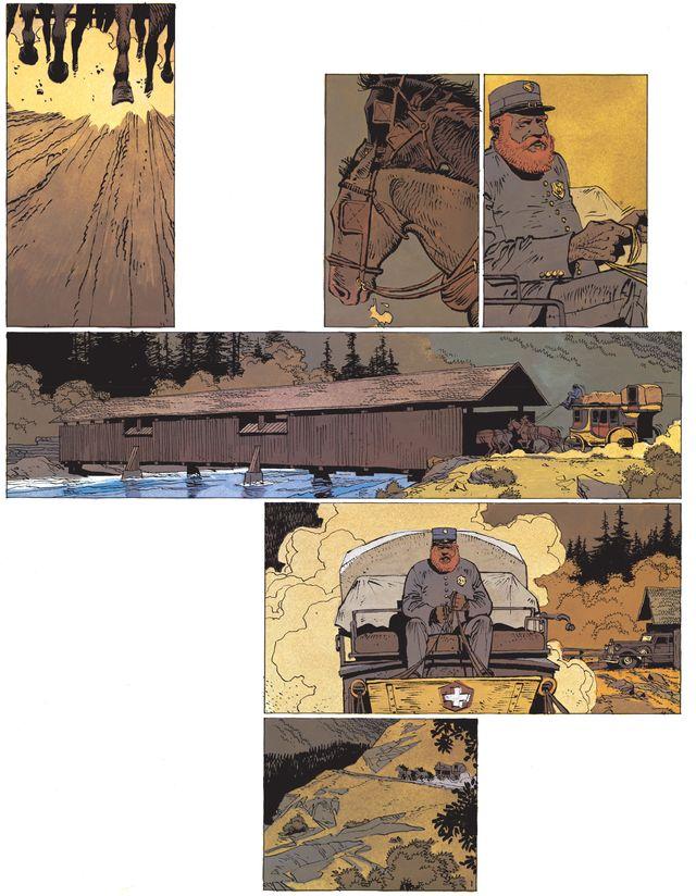"""C'est par Dérib que Matthieu Bonhomme a découvert le travail du dessinateur Cosey. Ici une planche de """"Peter Pan"""" de Cosey;"""