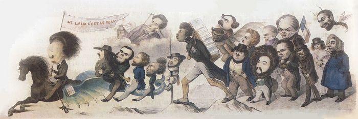 Victor Hugo à la tête de l'armée romantique. Le Grand chemin de la postérité, caricature de Benjamin Roubaud (1842)