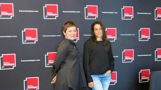 France Musique, studio 141... Nora Cismondi, hautbois solo de l'Orchestre National de France & Gabrielle Oliveira Guyon, productrice (de g. à d.)